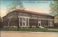 Clemson College SC Long Hall Agriculture Hand Colored Postcard c1920s