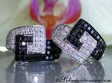 Brillanten Ohrstecker m. schwarzen Diamanten im Gürtel Design 1.32 ct WG585 3715