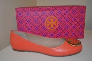NIB Tory Burch Reva Poppy Coral Leather GOLD Logo Ballet Flat Shoe 10 Wide