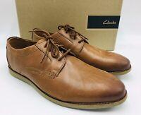Clarks Men's Raharto Plain-Toe Oxfords Size 9.5W Dark Tan Leather, MSRP $100