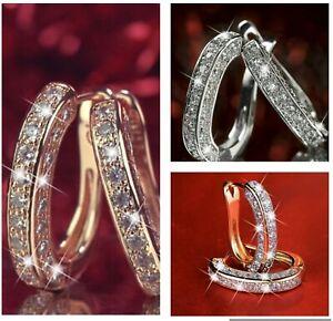 Women Charm Zircon Sterling Silver Stud Hoop Earrings Fashion Jewellery Gifts
