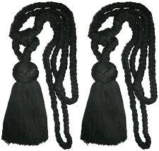 Algodón Negro Cuerda Trenzada Borla Alzapaños de cortina, X 2 , Arte c05-009