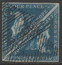 CAPE OF GOOD HOPE 1853 QV SG2 deep blue pair 4d VF used good margins CV £550