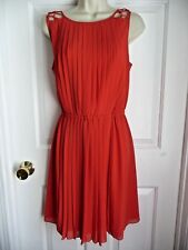 Jessica Simpson Dress 14 Bright Red Pleated Body Sleeveless Lattice Shoulders