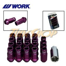 WORK RACING RS-R EXTENDED FORGED ALUMINUM LOCK LUG NUTS 12 X 1.25 PURPLE OPEN S