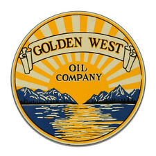 Golden West Oil Company Motor Oil Gas Gasoline Round MDF Wood Sign