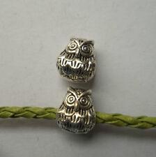 10 pcs Tibetan silver big hole owl Charm Spacer beads 11x9x8.5 mm