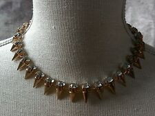 rose gold and faux diamond stud collar necklace punk goth steampunk party