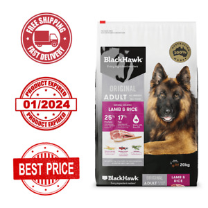 NEW Black Hawk Dog Food Adult Lamb and Rice 20 KG - FREE SHIPPING- EXP 01/2024