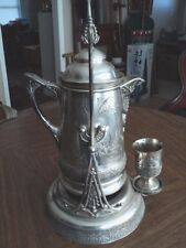 ANTIQUE AESTHETIC SILVER PLATE TILTING WATER PITCHER AURORA Illinois 1869-1875