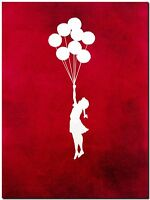 "BANKSY STREET ART CANVAS PRINT Girl & Balloons red 16""X 12"" stencil poster"