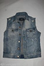Mens CARBON JEAN JACKET VEST Sleeveless DESTROYED DISTRESSED Cross Design MEDIUM
