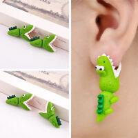 Women Fashion 3D Animal Cute Green Ear Stud Polymer Clay Earrings Jewelry Gift