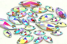 Navette Horse Eye Shape EIMASS® Sew or Glue on Resin Crystals, Flat Back Gems