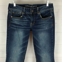 American Eagle womens size 8 stretch blue distressed dark wash kick bootcut jean