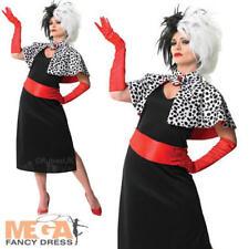 Cruella De Vil Ladies Fancy Dress Disney Villian Adults Halloween Costume + Wig