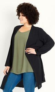 EX EVANS Ladies Womens Black Longline Long Kimono Cardigan Jacket Size 18 20