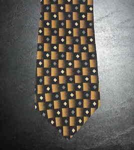 J. Ferrar Tie Silk Geometric Shapes Design Brown Black Gold Tan Gray NIB t3862