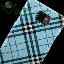 Custodia back cover specifica per Samsung i9100 Galaxy S2 rigida PLAID AZZURRO