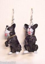 """New Black White Boston Terrier Dogs 1.5"""" Hood Hounds Figures Dangle Earrings"""