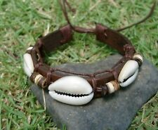 10 NEW UNISEX BROWN LEATHER SURF SKATER WRISTBAND BRACELET WITH SHELL / b109ro