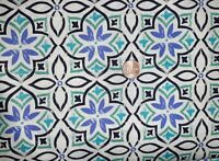 LEWIS & IRENE MARRAKECH  FABRIC BLUE FLOWER PATTERN 100% COTTON MATERIAL CRAFTS
