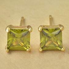 Pretty New 9K Solid Gold Filled 7mm Olive Green CZ Square Stud Post Earrings