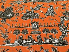 """Clarence House Toile 55"""" Wide Upholstery Fabric Zephyr & Seraphin Mandarina 12yd"""