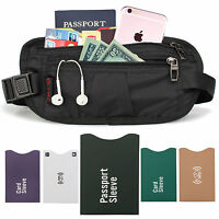 Waterproof Travel Hidden Waist Body Wallet Money Belt Passport Holder RFID Sleev