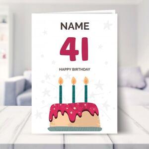 41st Birthday Card for Him / Her - BIRTHDAY CAKE - 41 Birthday Card Boys Girls