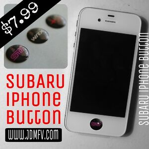 iDevice iPhone iPad iTouch Home Button Sticker 6/7/8/9/10/x FOR: Subie WRX STI