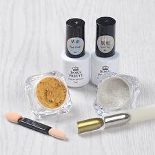 5pcs/set Shinning Mirror Glitter Powder Nail Base Coat Top Coat UV Gel Brush