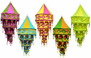 5 Pcs Wholesale Lot  Decorative Cotton Lampshade Lanterns Collapsible Handmade