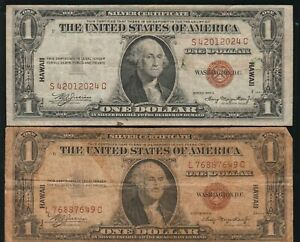 Lot of 2 1935-A Hawaii $1.00 Silver Certificates