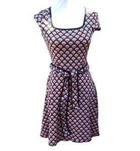 Dorothy Perkins Skater Tea Dress Size UK10 Belt Cap Sleeves