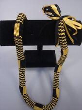 Hawaiian Ribbon Square Weave Graduation Lei black yellow