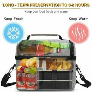 Large Insulated Lunch Bag Box Adult Kids Thermal Cool Hot Food Storage Tote 8L