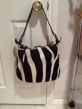 CAVALCANTI Women/Luxury/Leather/Fur With Zebra print Purse HandBag Made ITALY