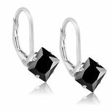 Sterling Silver .925 Princess Cut CZ 1.8 TCW 5x5mm Leverback Earrings