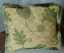 PAIR NEW Small Quilted LEAFY YELLOW & GREEN SILK BACKED Cushion covers & fringes