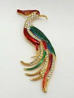 Vintage Gold Tone Enamel Rhinestone Large Bird of Paradise Brooch Pin