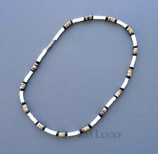 Men Surfer Choker Necklace Natural Smooth Shell w/wood beads Screw Clasp 18""