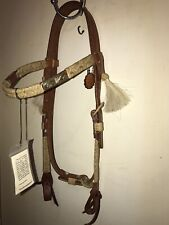 Browband Show Headstall, Silver Bars, Rawhide Trim, New