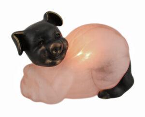 Zeckos Bronze Finished Mottled Pink Glass Pig Accent Lamp