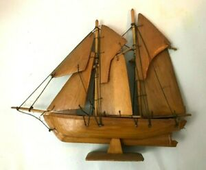 Handmade Wood Miniature  3+ Masts Sailboat - Quite Delicate Wood Sails - TOY
