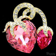 """1.7"""" Luxury Pink Rose Clear Crystal Strawberry Fruits Pin Brooch 14K GP Bridal"""