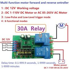 30A 12V Multifunction DC/AC Motor Forward & Reverse Start Stop Delay Controller