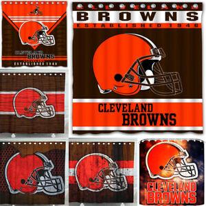 "Cleveland Browns Team 72 x72"" Waterproof Fabric Shower Curtain Bathroom Decor"