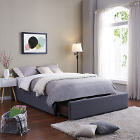 Twin Full Queen King Size Platform Bed Frame With Storage Drawer Upholstered