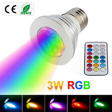 3W RGB Color Changing E27 LED Bulb Spot Light Lamp + IR Remote Control 85-265V
